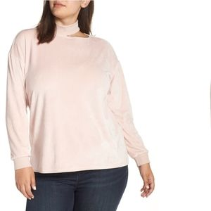 Vince Camuto Gilded Rose Velour Cut Out Top NWT